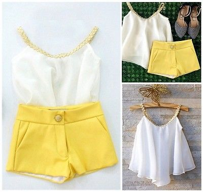 2016 cute new style Chiffon Girls Baby Kids Sun Top Shirt Hot Pants Shorts Summer Outfits Clothes