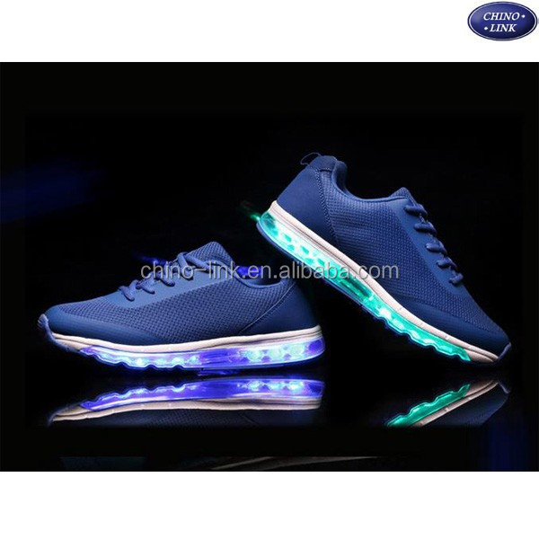 Factory wholesale top quality breathable flywoven material casual sport led shoes men
