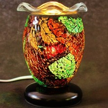 wooden base mosaic oil burner colorful glass candle holder electric incense burner MA0285