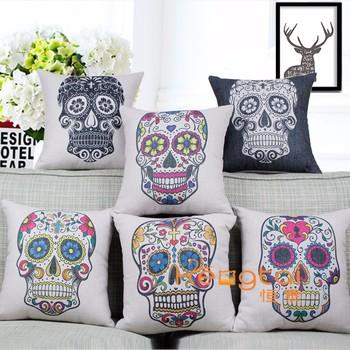 Ordinaire Sofa Cushion Digital Skull Print Photo Custom Custom Wholesale Cushion Cover  Throw Pillow Case Manufacturers HT