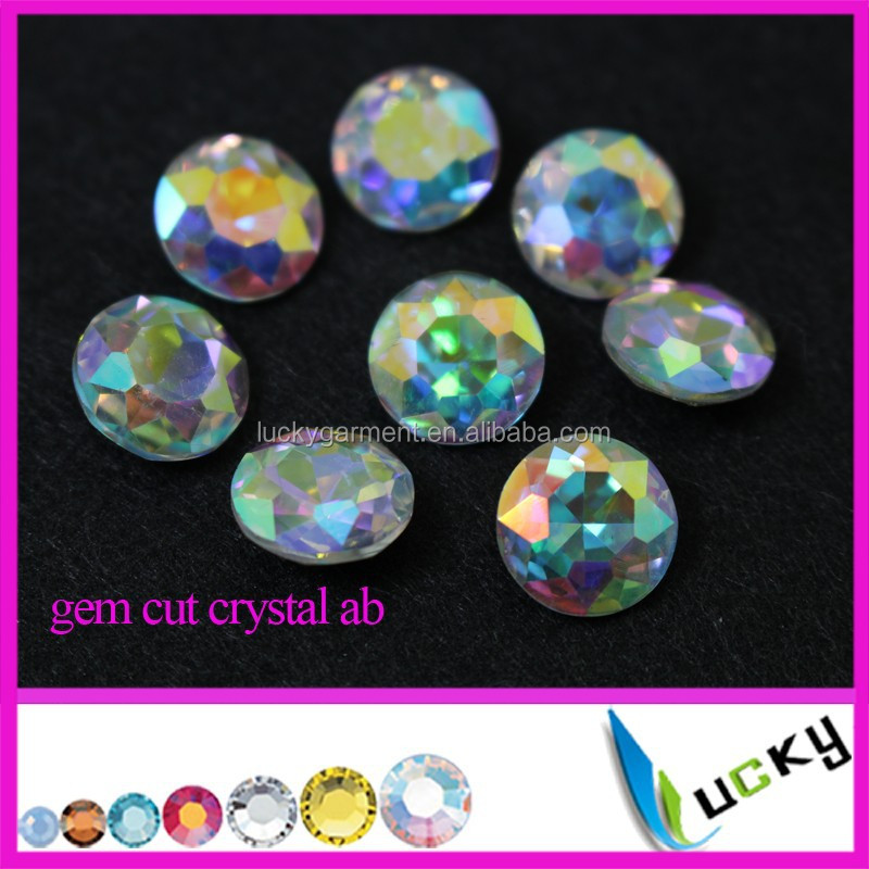 Super brillante Cristal AB color ronda joya corte pointback rhinestones 10mm 12mm 14 MM 16mm