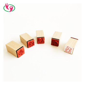 Customized Kids Craft Toy Wooden Rubber Stamp Set