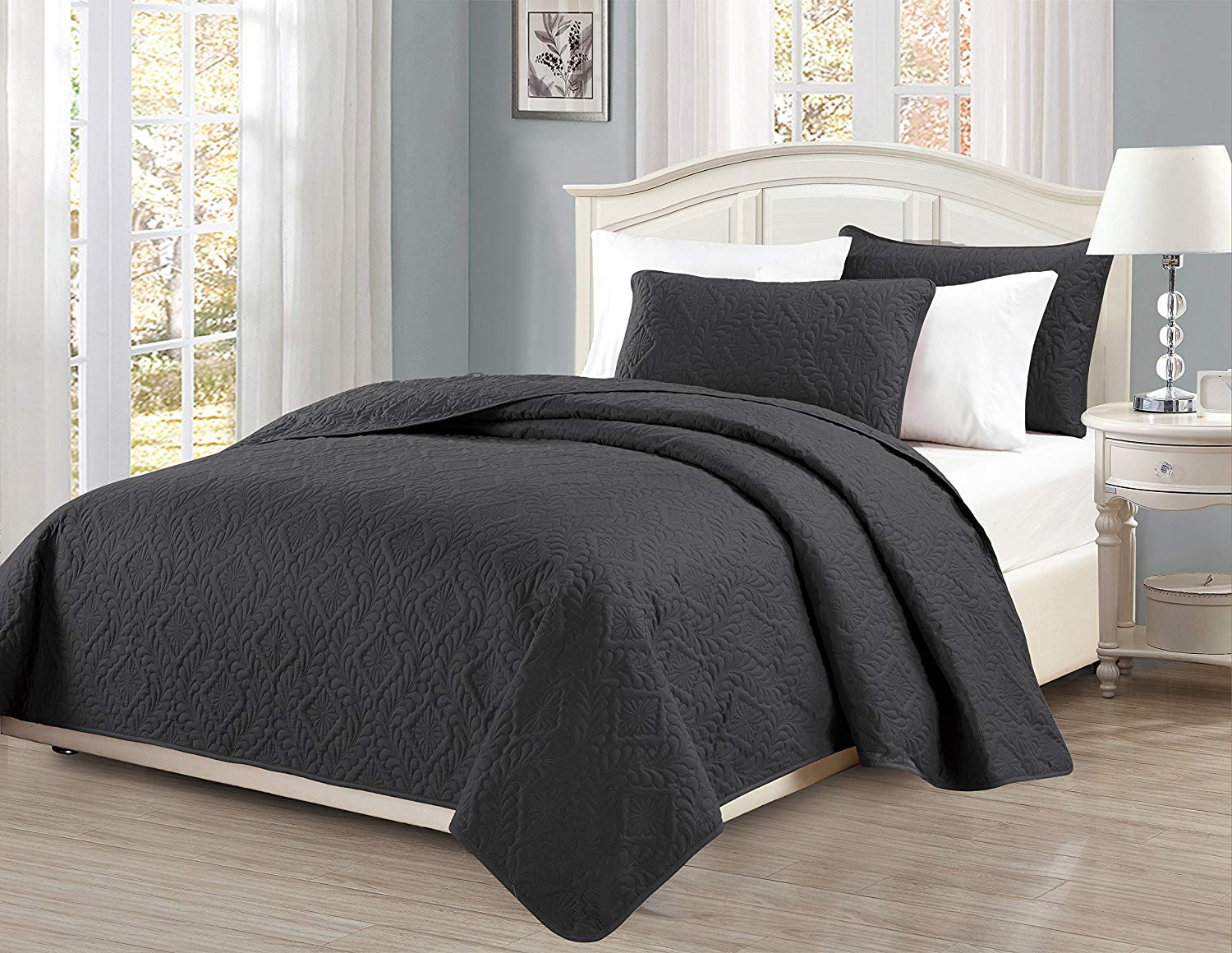 Fancy Collection 3pc King/California King Oversize Bedspread Coverlet Set Embossed Solid Dark Gray/Charcoal New