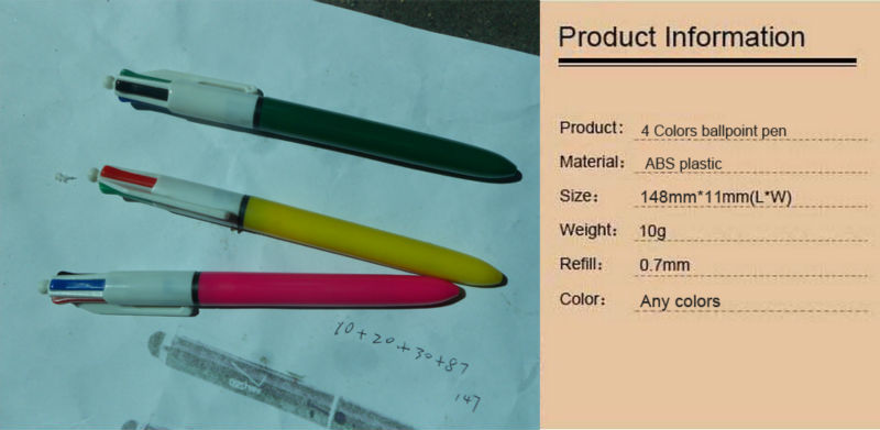 plastic 4 in 1 pen with 4 colors ball pen4 colors refill ballpoint pens