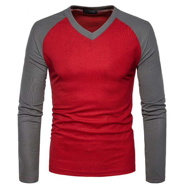 4b830ab95 Men's Raglan Long Sleeve V-neck T Shirt With Different Color Sleeves ...