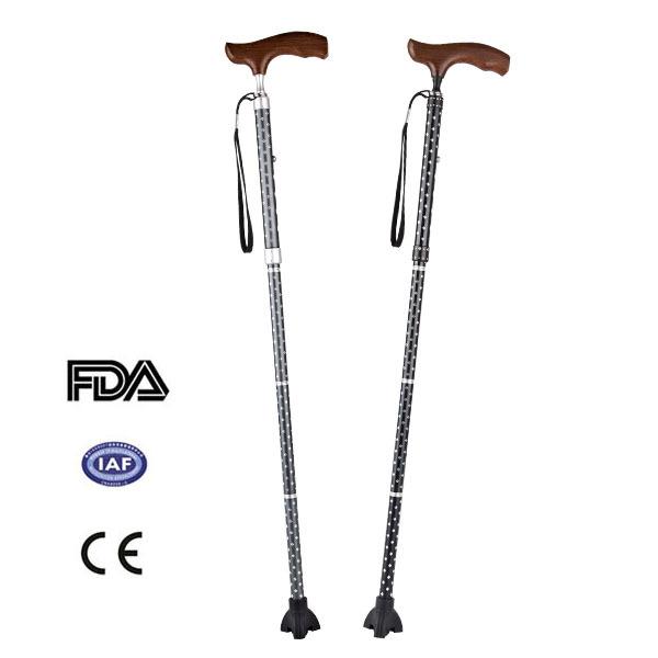 5 Sections Blind Wooden Folding Elderly Walking Stick Cane