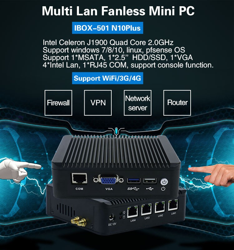 Großhandel firewall router 4 ethernet-anschluss Intel J1900 quad core nano itx motherboard pfsense mini pc embedded sim slot