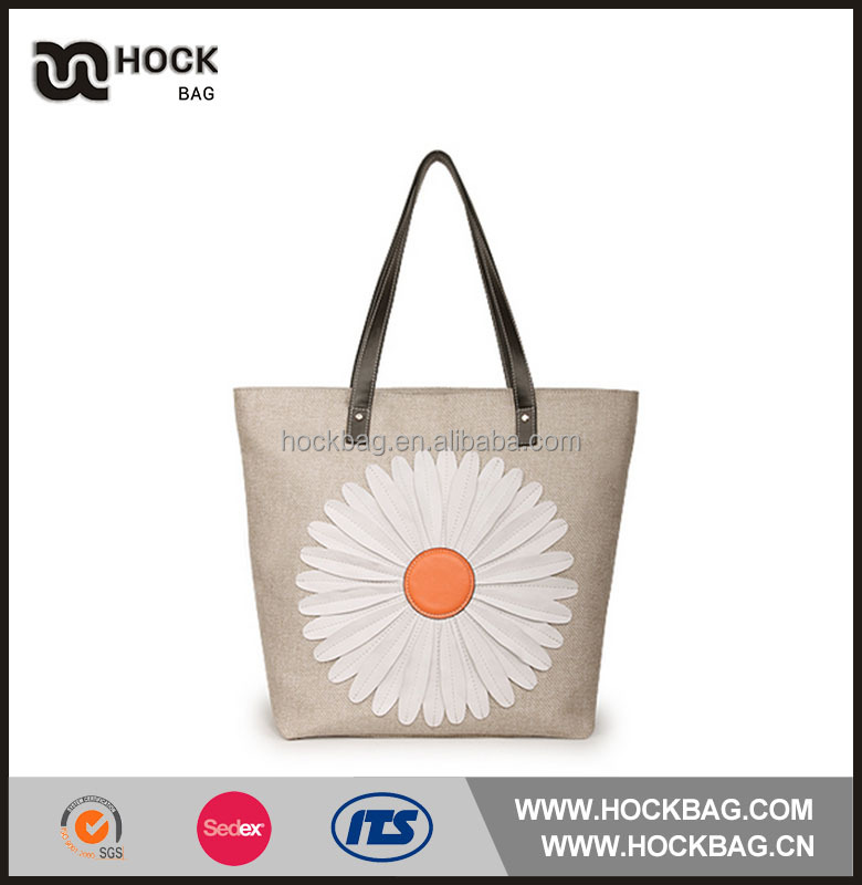 wholesale embroidery women high quality tote Jute handbags