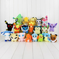 New 20pcs lot pikachu celebi Dragonite Psyduck Sylveon Umbreon Snorlax Torchic glaceon chikorita Charmander plush stuffed