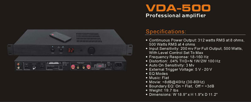 VDA-500 Made in Dongguan manufacture Professional power amplifier