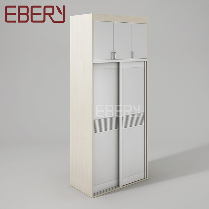 Newest design white and brown wall sliding door bedroom wardrobe