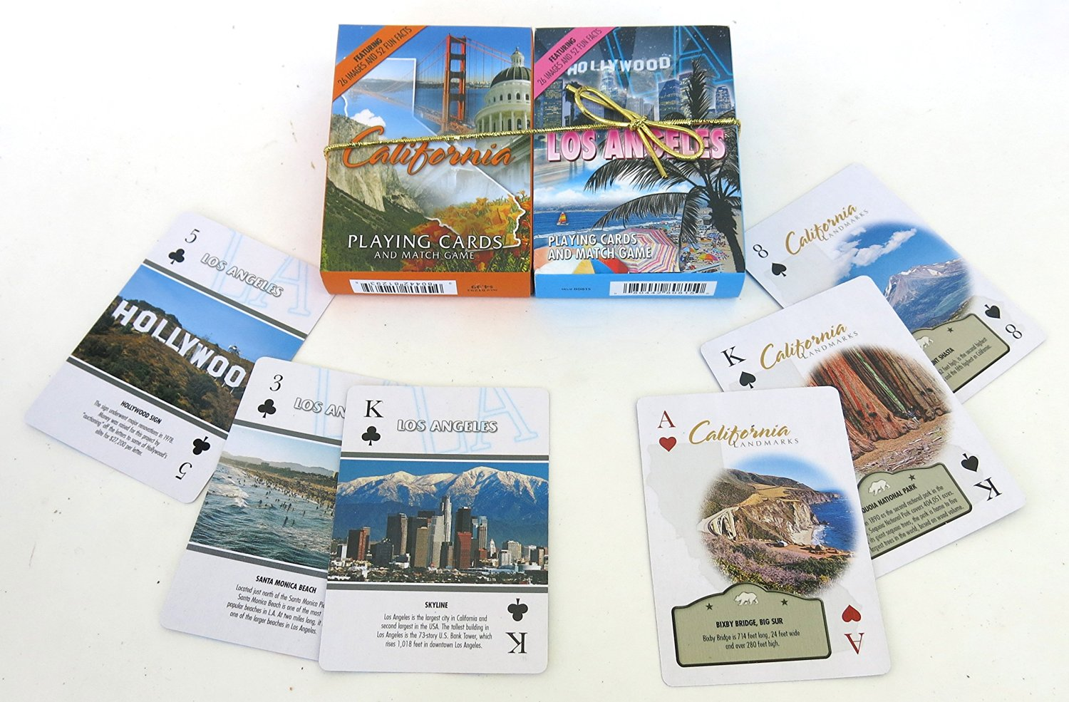 Los Angeles and California, Souvenir Playing Cards, Vacation Gift. Card Faces Feature Multiple Landmarks, Oustsanding Tourist Gift. The Two Deck Set Includes a Gold Gift Ribbon