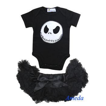 newborn baby halloween black pettiskirt nightmare before christmas jack romper