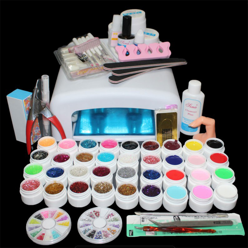 Acrylic Nail Kit Uv Gel Nail Polish Set With Uv Lamp 36W