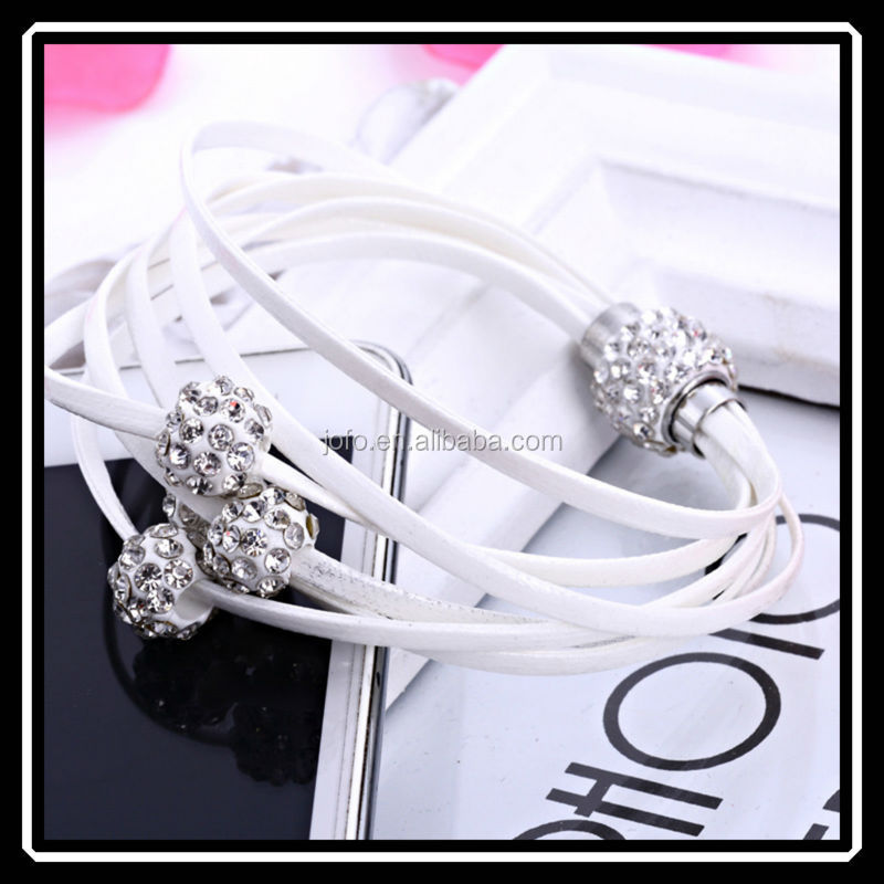 Brazilian Style Hot Sale White PU Leather Shamballa Bracelet With Magnetic Clasp For Women BBJ0013