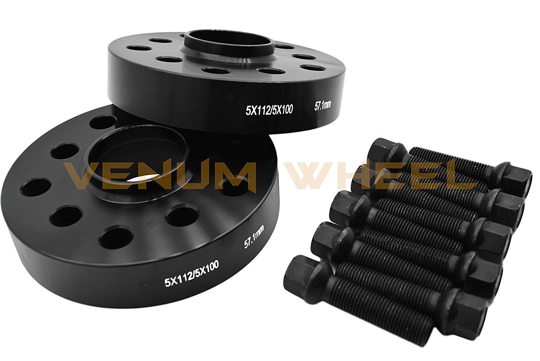 2 Pc All Black 25mm Audi Volkswagen Full Hub Centric Wheel Spacers 5x100 5x112 57.1 Hub Bore + 10 14x1.5 Black Ball Seat Lug Bolts- Bolt On Kit