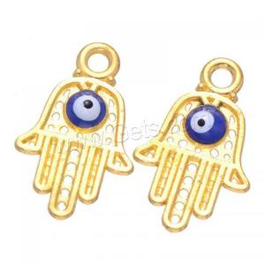 Zinc Alloy Evil Eye Pendant Hamsa gold color plated evil eye pattern lead & cadmium free 20x13mm Hole:Approx 2mm 1170856