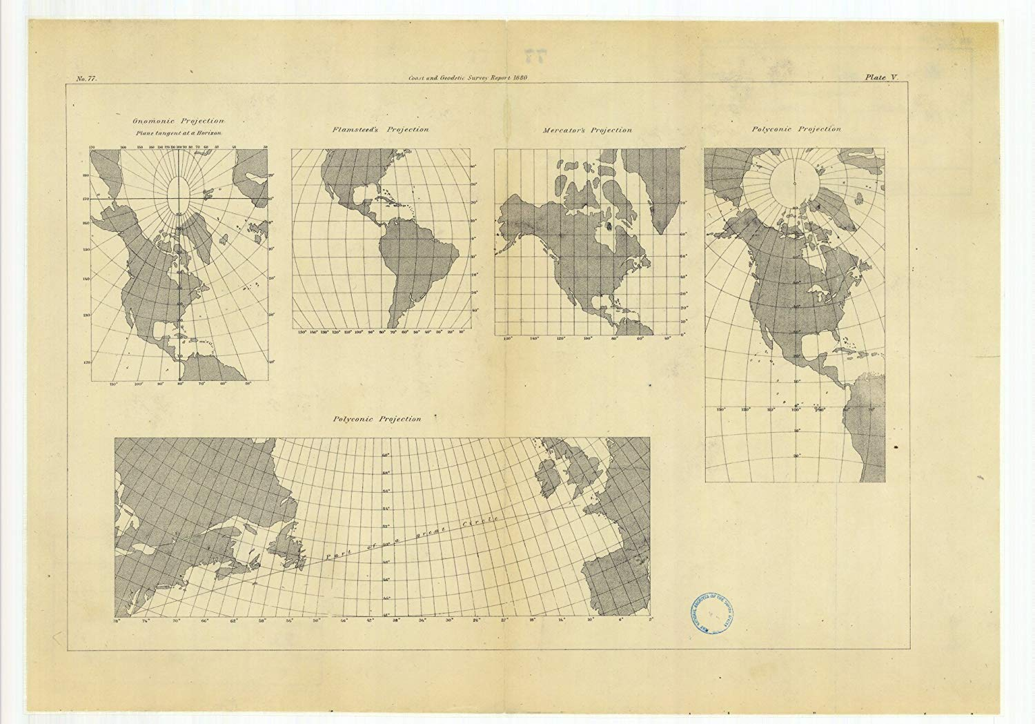 Vintography 8 x 12 inch 1880 US Old Nautical map Drawing Chart Gnomonic Projection Flamsteed's Projection, Mercator's Projection Polyconic Projections from US Coast & Geodetic Survey x5817