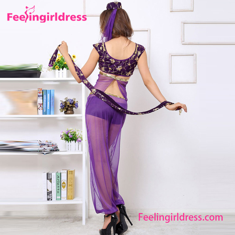 Lyrical Sexy Purple Belly Dress Set Chiffon Chinese Dance Costume