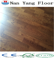 3 strips yellow color smooth oak wide plank parquet wooden floor