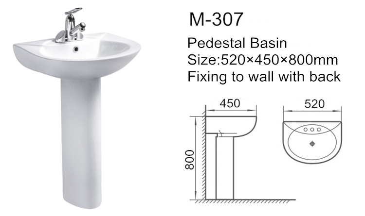 Made in china ceramic pedestal wash basin price