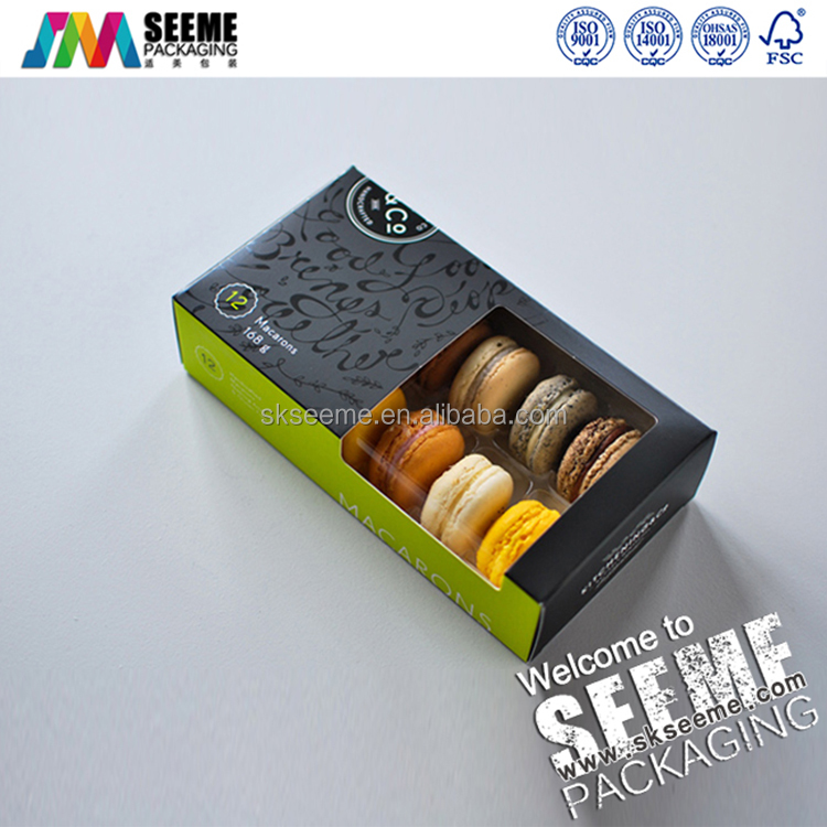 custom printed recycled environmental Macaroons packaging box with a PVC window