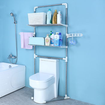 2 Layers Stainless Steel Contemporary Free Standing Bathroom Corner Shelf Toilet  Rack Over The