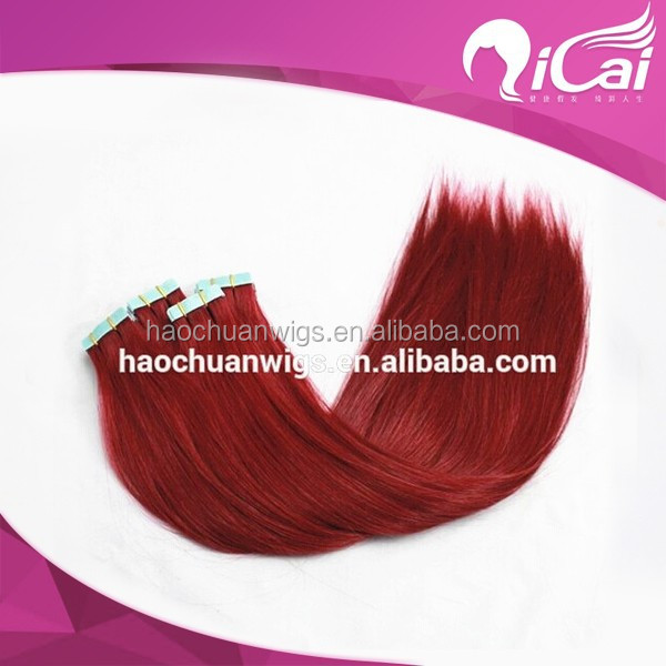 "Tape Skin Weft Hair Extension Color#Red 16""-24""Woman Beauty human Natural Tape hair 40pcs/set"