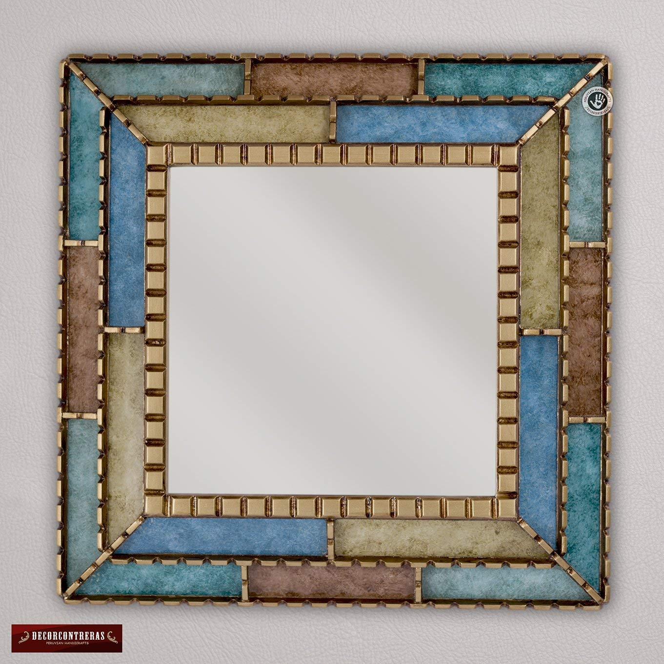 """Handmade Decorative Mirror 18.1"""" from Peru, Bathroom Mirror for wall decor, Turquoise Ornate Mirror, Painted glass with golden wood framed"""