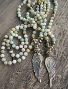 N00915 Boho KNOT Amazonite beads Necklace,stone beads necklace with angel wing pendant