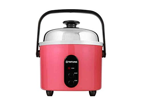TATUNG Indirect Multi-Functional Mini Rice Cooker, Steamer and Warmer, Peach Red, 3-Cup uncooked/ 6-Cup cooked, TAC-3ASF-1 (Peach Red)