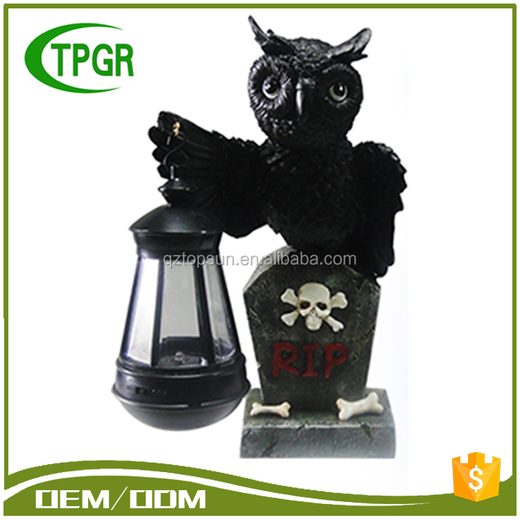 Promotional Polyresin Resin Crafts Corbie Solar Lantern Light Solar Led Lantern With Cheap Price