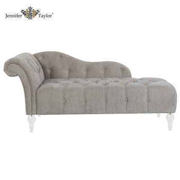 Antique Wooden Chaise Lounge Chair With Acrylic Legs Living Room