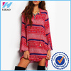Yihao 2016 Cute New Arrival Clothes For Ladies Flare Long Sleeve Vintage Print A Line Stand Neck Dress