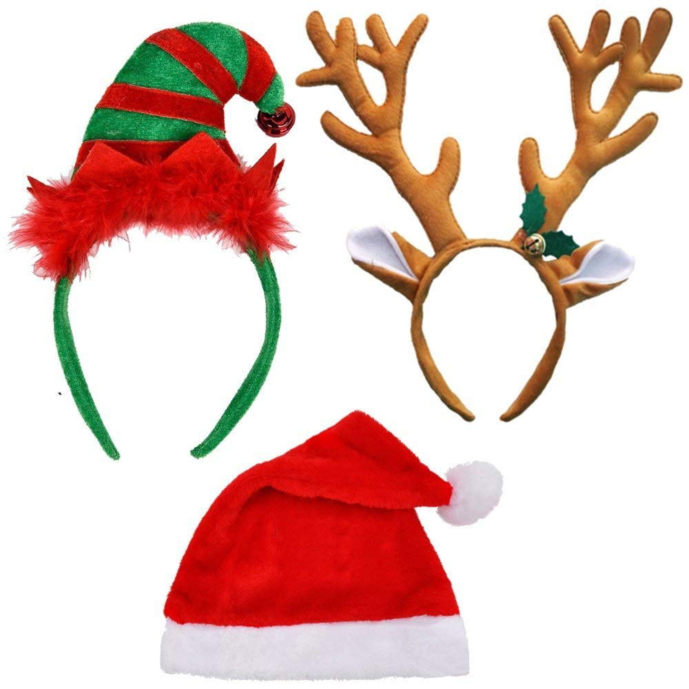 Christmas Hat Bundle - Santa Hat, Reindeer Antlers Headband, Elf Headband for Christmas and Holiday Parties Pack of 3 Great for Santa Con