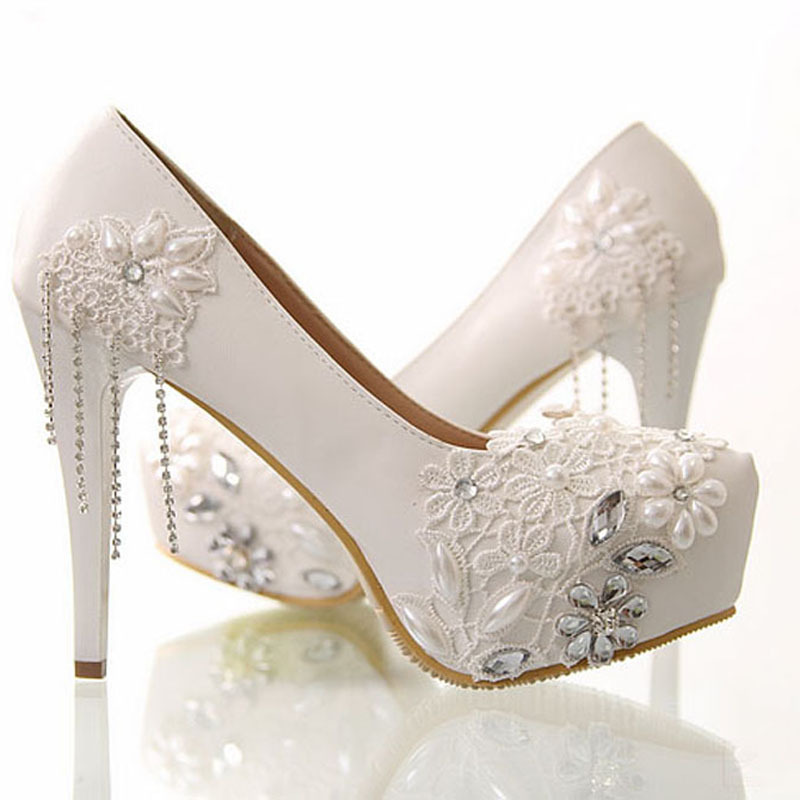 Buy Newest White Flower Rhinestone Wedding Dress Shoes Bridal Shoes ...