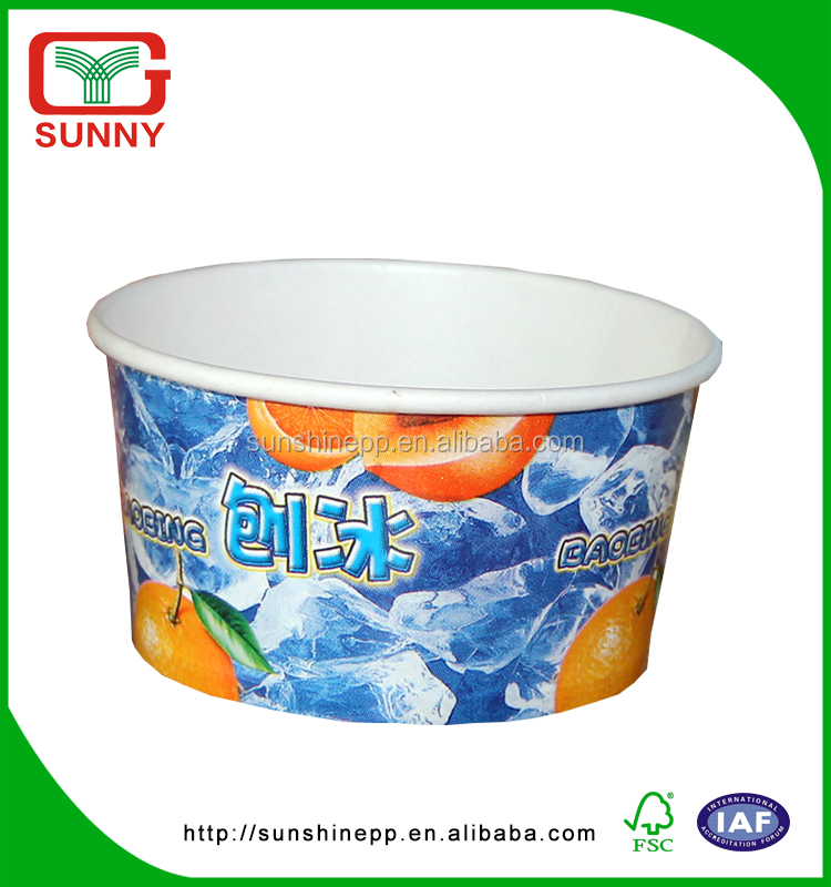 Custom Printed Colorful Disposable Yoghourt Ice Cream Paper Bowl