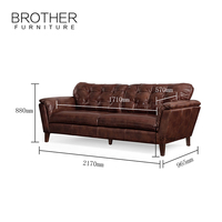 Italy Home Furniture Leather Sofa Living Room Furniture 3 Seat