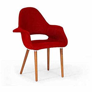 Wholesale Interiors Forza Twill Mid-Century Style Accent Chair, Set of 2, Red