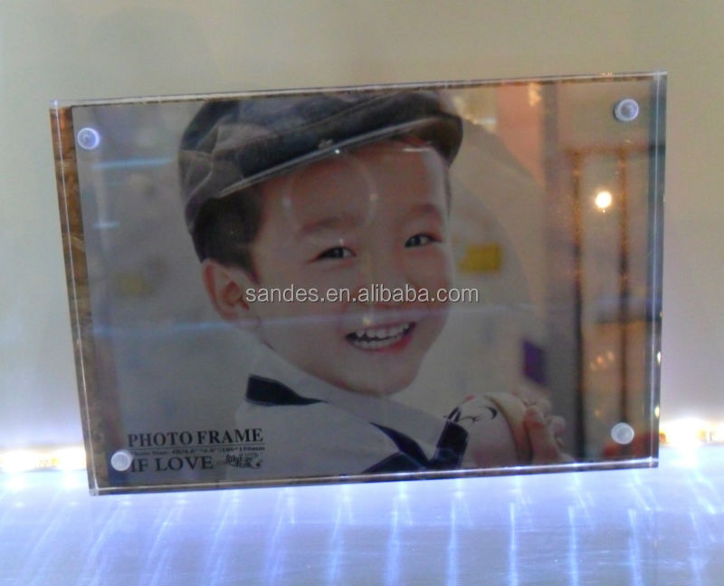 Special Design Square Shape 4x6 Acrylic Crystal Photo Frame with Magnets