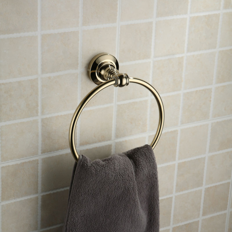 2014 Top Sale Golden Copper Bath towel Holder Brass Towel Ring for Bathroom Collections