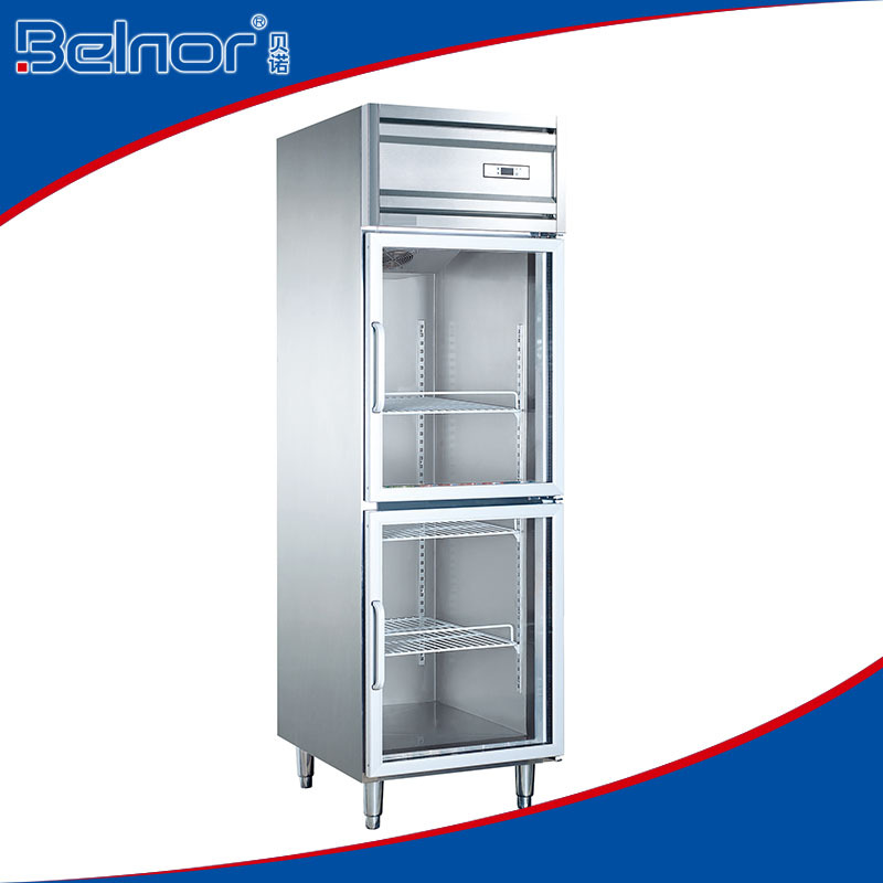 KG0.5L2/Low power consumption two-glass doors stainless steel beverage display refrigerator