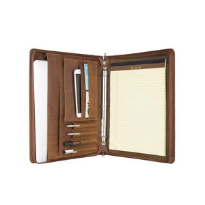 Good quality a4 leather embossed ring binder 3 ring conference folder portfolio brown with pen holder