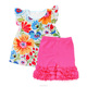 Wholesale kids children floral boutique pearl tunic top set ruffle girls outfit