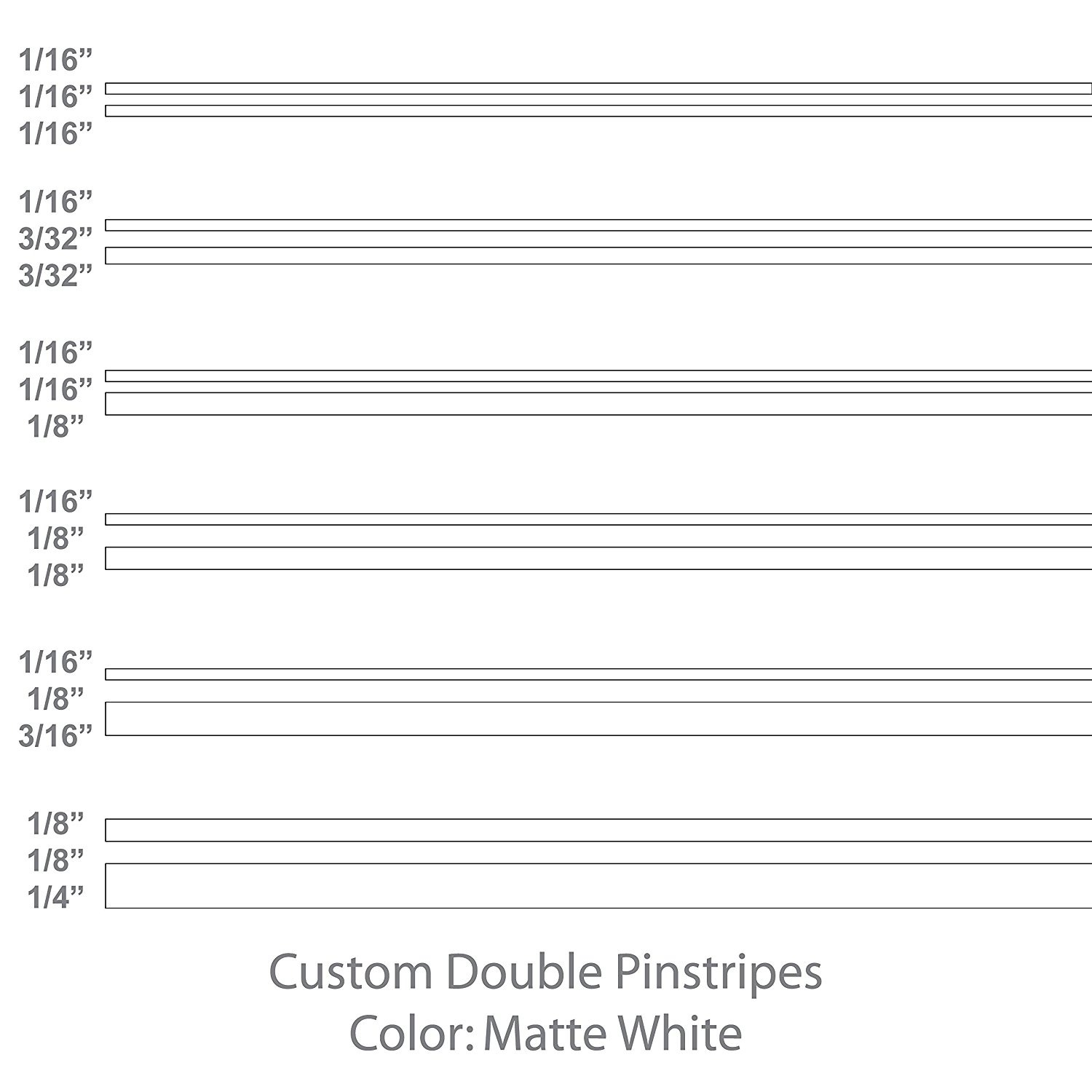 "Double Pinstripes (Matte White) 1/8"" 1/16"" 3/16"" 3/32"" 5/8"" 1/4"" 1/2"" 3/4"" inch widths / auto car truck pinstriping vinyl tape decal / by 1060 Graphics. (1/16"" - 1/16"" - 1/8"" (12' ft. length))"