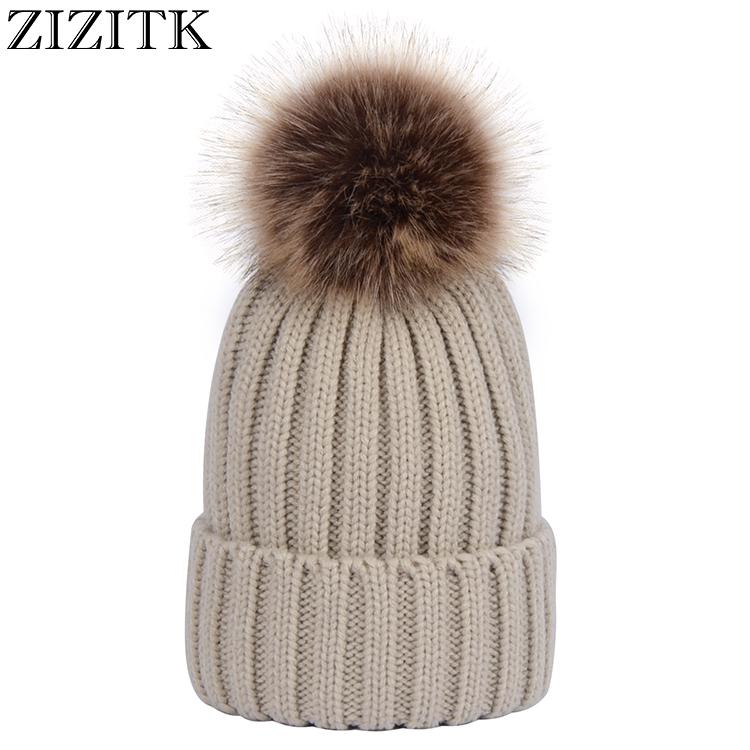 Winter 13 Colors Detachable Faux Fur Pompom Ball Stripe Knit Beanie Hat for  Women b4af9e3568e