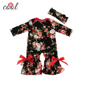 0-3 years toddler boutique baby romper sets ruffle remake rompers baby girl floral