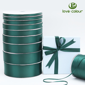 Custom Single Sided Dark Green Satin Ribbon Christmas Xmas For Gift Wrap