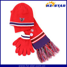 HZM-13352 cheap price winter knit for children kids hats scarf gloves set