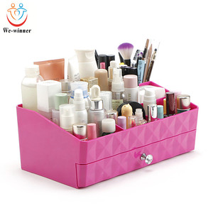 High-capacity double-deck drawer pattern makeup skin care products plastic storage box